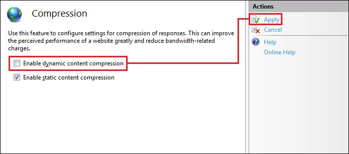 IIS Compression 配置界面